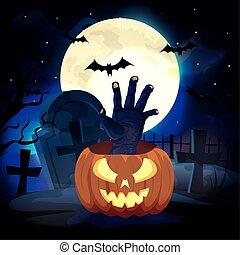 pumpkin with hand zombie in the halloween scene