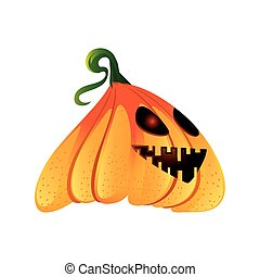 pumpkin with happy face for halloween on white background