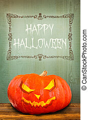 Pumpkin with Happy Halloween greeting
