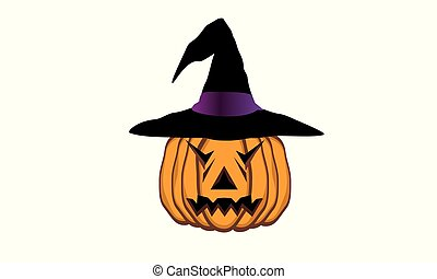 Pumpkin with hat for Halloween