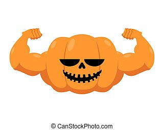 Pumpkin with muscles. Fitness Halloween. Vegetable with...