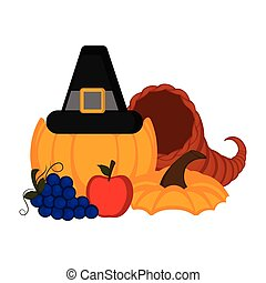Pumpkin with pilgrim hat and thanksgiving food