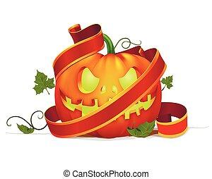 pumpkin with ribbon