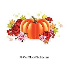 Pumpkin with roses autumn background Vector