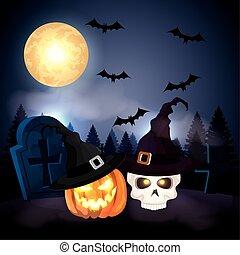 pumpkin with skull in the dark night halloween scene