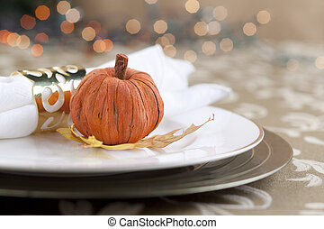 pumpkin with table napkin