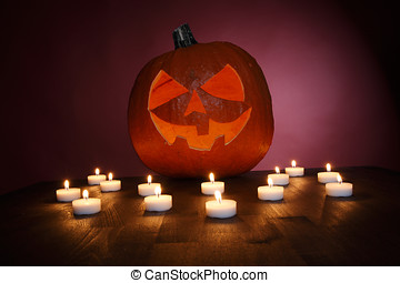 Pumpkin with tealights