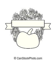 pumpkin wreath floral ribbon emblem