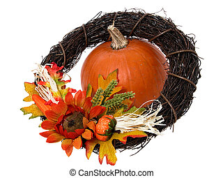 Pumpkin & Wreath