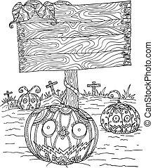 Pumpkin zentangle in Halloween.