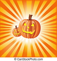 Pumpkins Against Sun Rays - Halloween Illustration With...