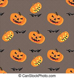 Pumpkins and bats on a gray background geometric seamless pattern vector illustration