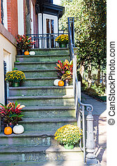 Pumpkins and Flowers on Steps