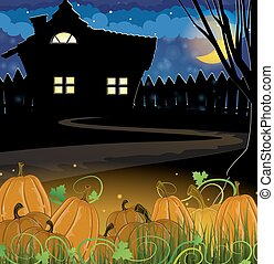 Pumpkins and house - Pumpkins near the house with glowing...