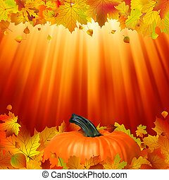 Pumpkins and leaves in the sun. EPS 8