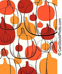 Pumpkins and Outlines Abstract Background