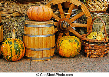 Pumpkins as autumn decoration at market place