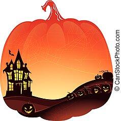 pumpkins., casa, fundo, dobro, assombrado, exposição, dia das bruxas