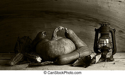 Pumpkins, Corncobs and autumn leaves Decoration on a wooden table With Old Rusted Lantern