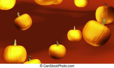 Pumpkins falling Halloween background loop