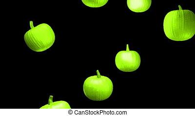 Pumpkins falling strobe colors loop - Falling pumpkins...