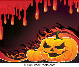 Pumpkins, flame and fire