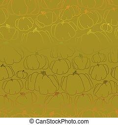 Pumpkins green seamless pattern