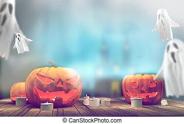 pumpkins Halloween 3d rendering