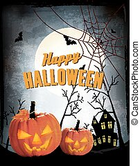 pumpkins., halloween, deux, vecteur, retro, fond, nuit