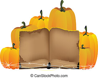 pumpkins heap and the old book