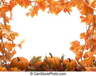 pumpkins, hos, efterår forlader