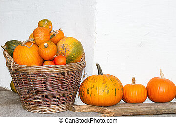 Pumpkins in a wicker basket. Autumn decoration. Outdoors image.