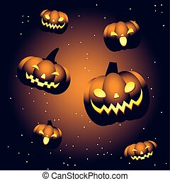pumpkins in dark halloween night