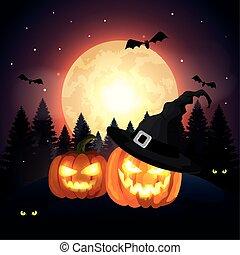 pumpkins in the dark night halloween scene