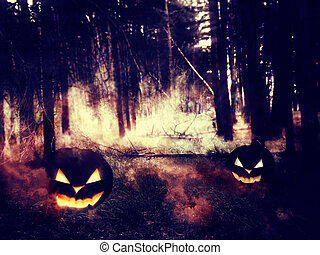 Pumpkins in the Night Forest