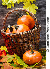 Pumpkins in wicker basket with leaves