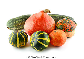 Pumpkins isolated over a white background.