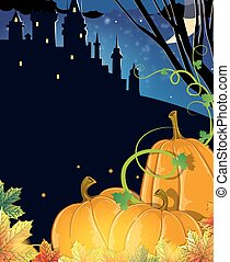 Pumpkins near the old haunted castle