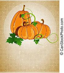 Pumpkins on a beige background
