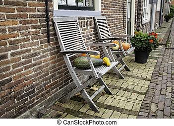 Pumpkins on a chair