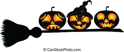 Pumpkins on a sweeper, a beautiful vector illustration to...
