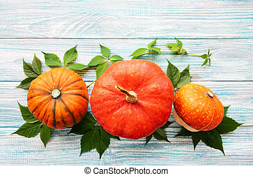 Pumpkins on a wooden table