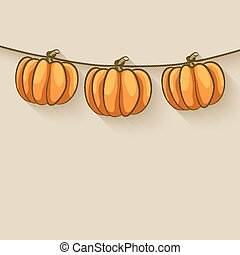 pumpkins on rope. thanksgiving background