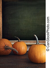 Pumpkins on table with menu board in background