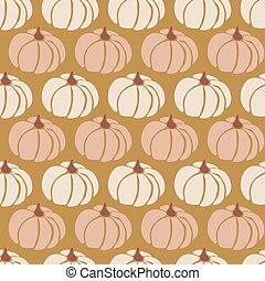 Pumpkins seamless vector pattern. Pumpkins pink white gold repeating background for Harvest festival or Thanksgiving day. Feminine earthy colors
