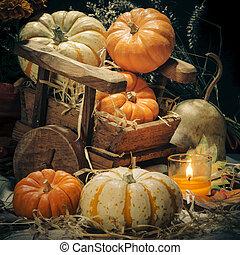 Pumpkins still life - Happy Halloween - Pumpkins and candles...