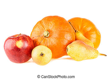 Pumpkins with apple and pears. Autumn fall bright color fruits and vegetables isolated on white