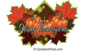 Pumpkins with autumn leaves, illustration, vector on white background.