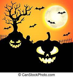 pumpkins with bats flying in halloween scene