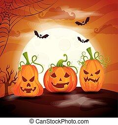 pumpkins with bats flying in scene halloween